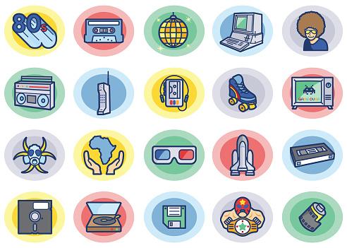 Retro 80s Color Icons Set