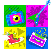 Retro 80's Design with TV set, electric guitar, tennis shoes and tape vector illustration cartoon.