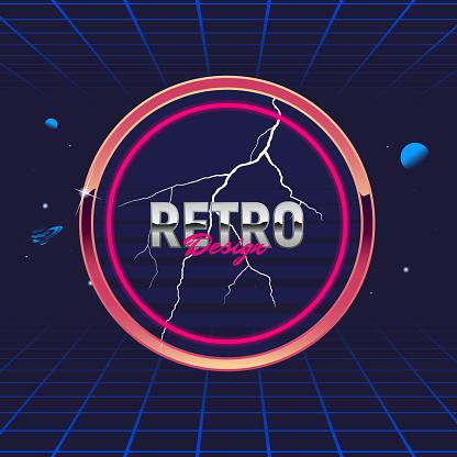 Retro 80's frame. Circle abstract frame. Template for social media. Hipster design. Retro 80's logo for Night club, music album, invitation. Print for t-shirt. Vector illustration