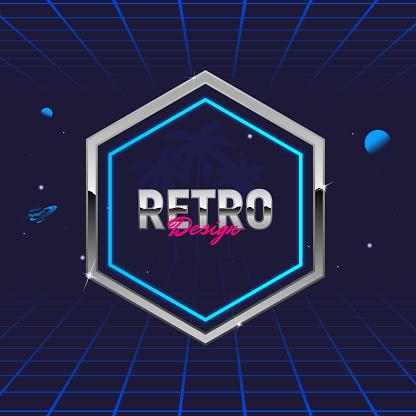 Retro 80's frame. Hexagon abstract frame. Template for social media. Hipster design. Retro 80's logo for Night club, music album, invitation. Print for t-shirt. Vector illustration