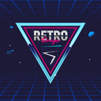 Retro 80's frame. Triangle abstract frame. Template for social media. Hipster design. Retro 80's logo for Night club, music album, invitation. Print for t-shirt. Vector illustration