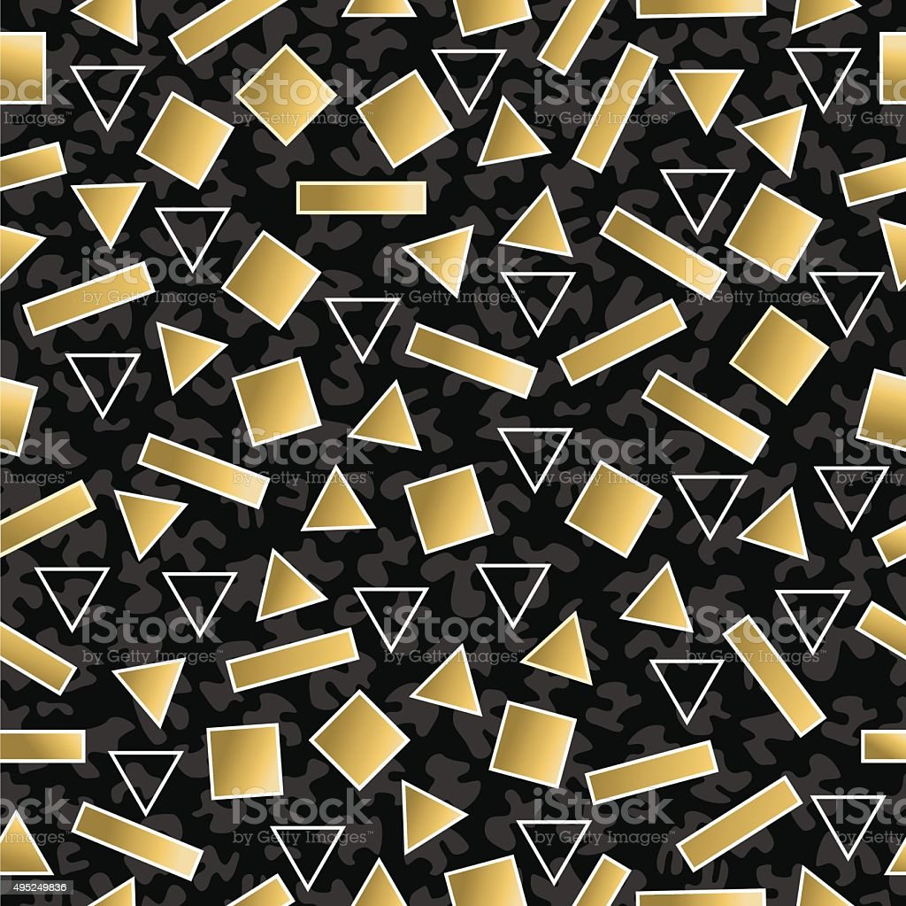 Retro 80s geometry seamless pattern gold shape vector art illustration
