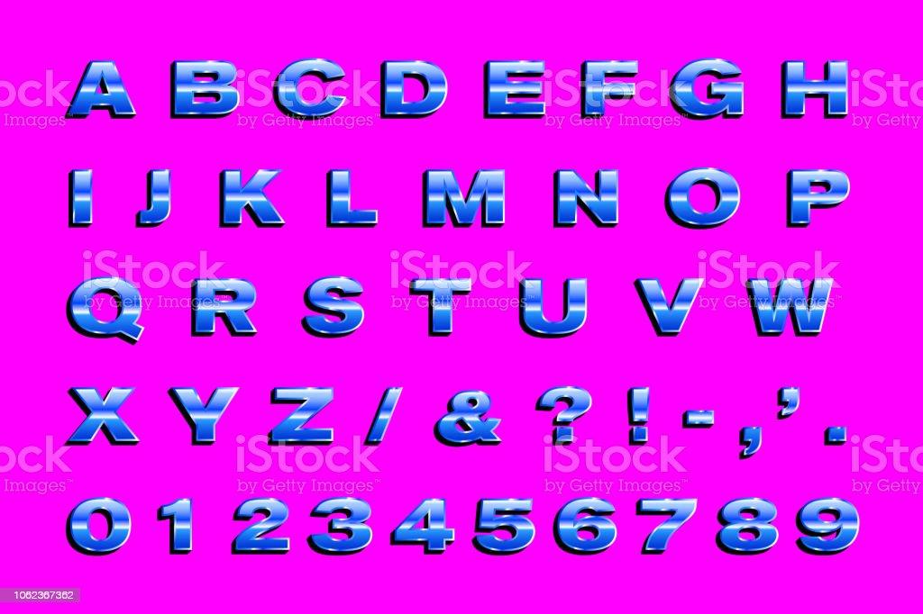 Retro 80er Buchstaben Fett Glänzende Metallicalphabet Buchstaben