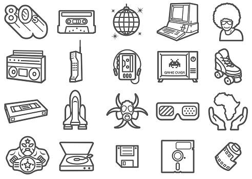 Retro 80s Line Icons Set