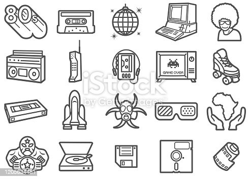 There is a set of icons about retro 80s and related stuffs in the style of Clip art.