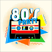 Retro 80's Music Party and Vintage Music Cassette Poster in Retro Design Style. Disco Party 80's.