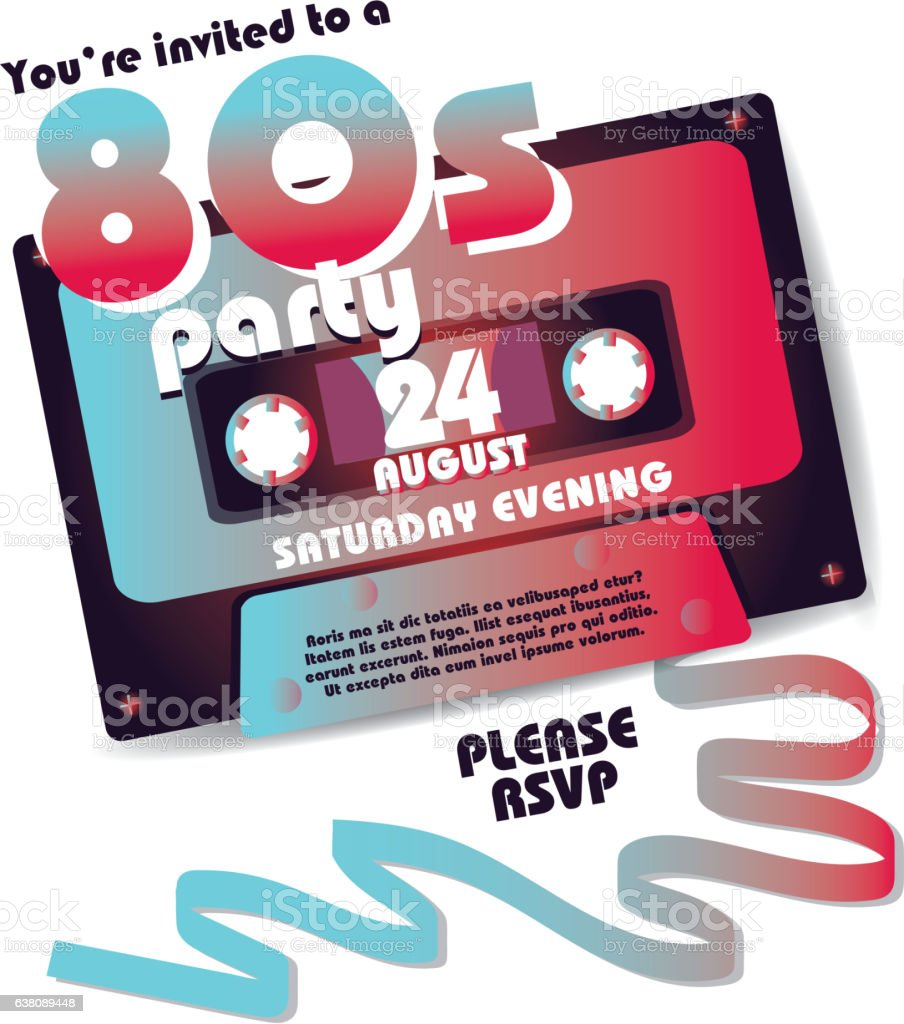 Retro 80s Party Invitation Design Template Stock Vector Art More
