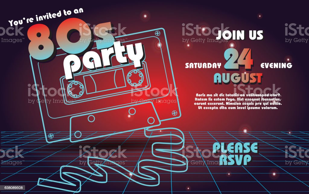 Retro 80s party invitation design template royalty-free retro 80s party invitation design template stock vector art & more images of 1980
