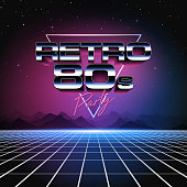 A retro 1980s style design, featuring glowing grid lines, shiny typography and colorful neon glows. Set against the stars and night sky, this is an ideal design element for your 80s themed party, poster or design project. All elements of this vector illustration are grouped onto clearly labelled layers within the EPS10 file making it easy for you to edit and customize to suit your needs.