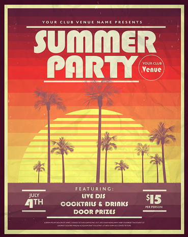 Retro 80s Summer Party with palm trees and retro sun poster design templates