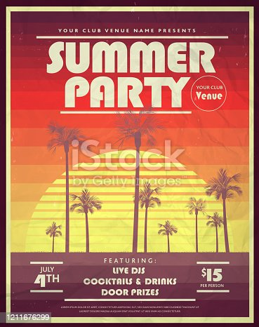 istock Retro 80s Summer Party with palm trees and retro sun poster design templates 1211676299