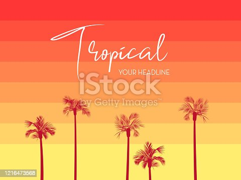 Vector illustration of a Retro 80s Tropical design with palm trees and gradient background template. Includes palm trees, pastel gradient. Fully editable EPS 10.