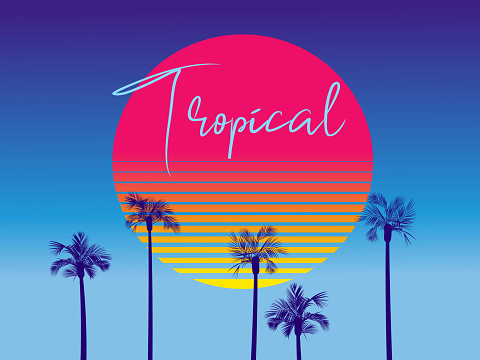 Retro 80s Tropical design with palm trees and retro sun background template