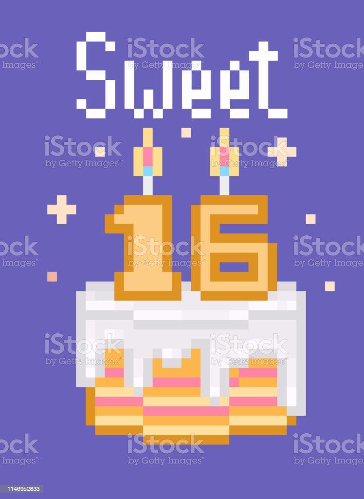 Rétro Des Années 80 90 S Pixel Art Joyeux Anniversaire Carte