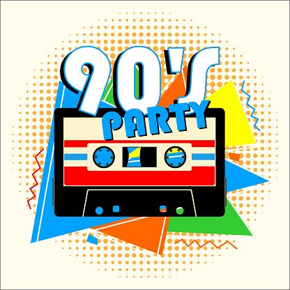 Retro 90's Music Party in Retro Design Style.