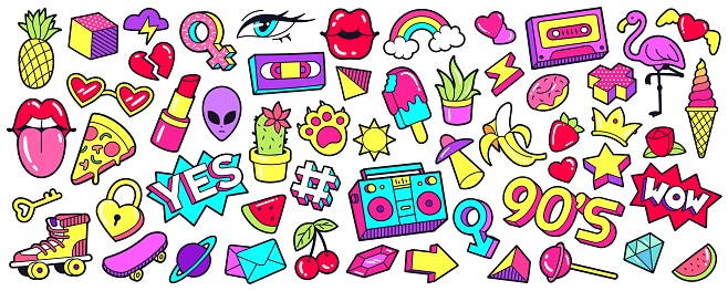 Retro 90s patches. Cartoon mouth lips stickers, nineties pop badges and trendy 1990s sneakers vector set.