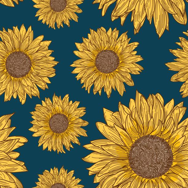 Retro 90s Sunflower Seamless Pattern vector art illustration