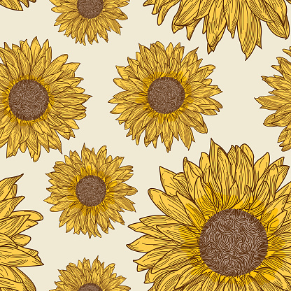 Retro 90s Sunflower Seamless Pattern