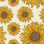 A 1990s inspired retro sunflower seamless pattern. Global colours, separated to layers.