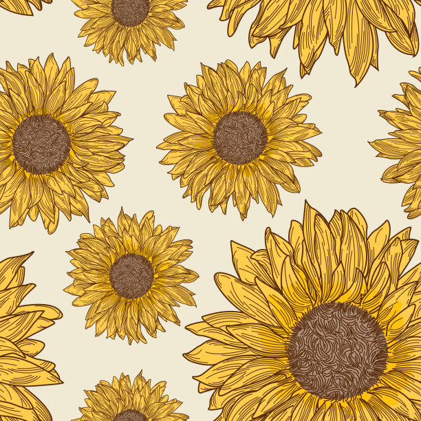 Retro 90s Sunflower Seamless Pattern vector art illustration