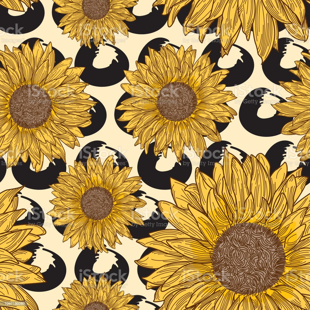 retro 90s sunflower seamless pattern vector id1097130264