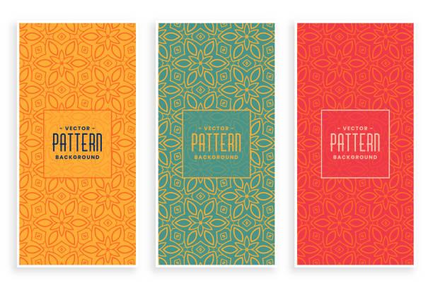 Retro abstrakte Blumenmuster Banner set – Vektorgrafik