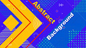 Retro abstract geometric background. The poster with the flat figures