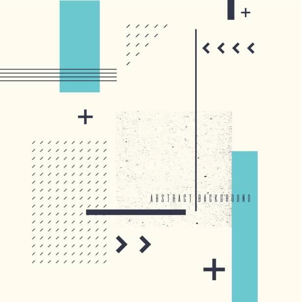 retro-abstrakten geometrischen hintergrund. das plakat mit den flachen figuren - designelement stock-grafiken, -clipart, -cartoons und -symbole