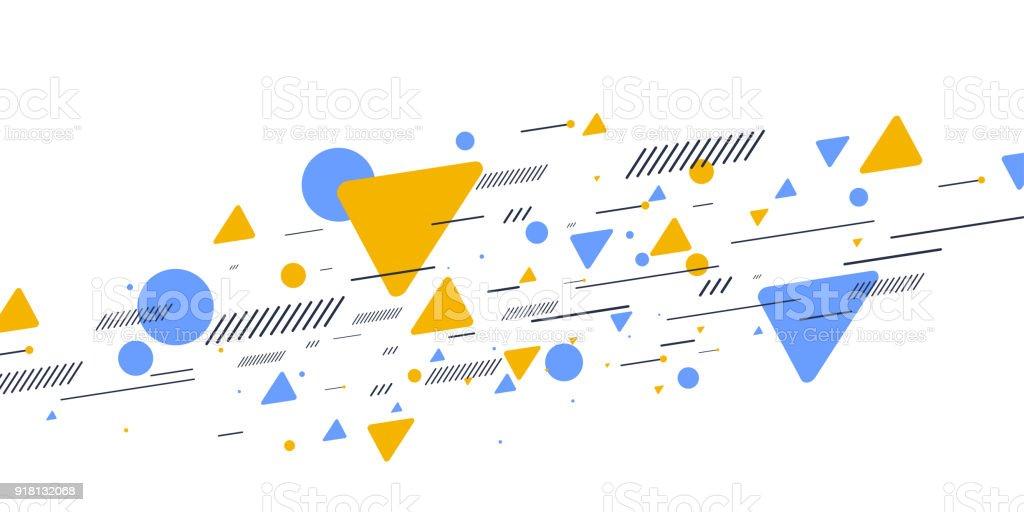 Retro-abstrakten geometrischen Hintergrund. Das Plakat mit den flachen Figuren Lizenzfreies retroabstrakten geometrischen hintergrund das plakat mit den flachen figuren stock vektor art und mehr bilder von abstrakt