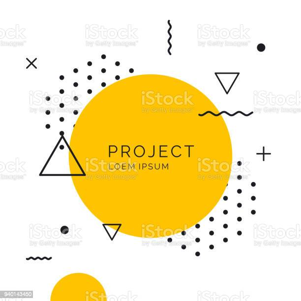 Retro Abstract Geometric Background The Poster With The Flat Figures - Arte vetorial de stock e mais imagens de Abstrato