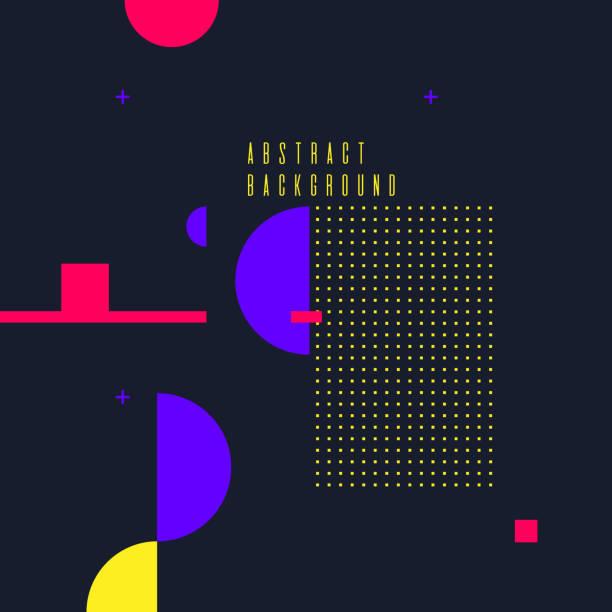retro-abstrakten geometrischen hintergrund. das plakat mit den flachen figuren - avantgarde stock-grafiken, -clipart, -cartoons und -symbole