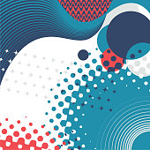Simple retro geometry pattern in blue and red colors.