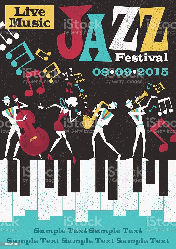 Retro Abstract Jazz Festival Poster vektör sanat illüstrasyonu