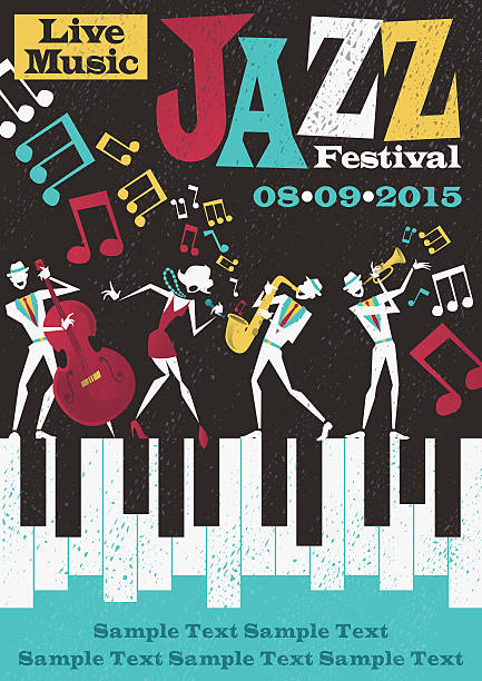 Retro Abstract Jazz Festival Poster vector art illustration