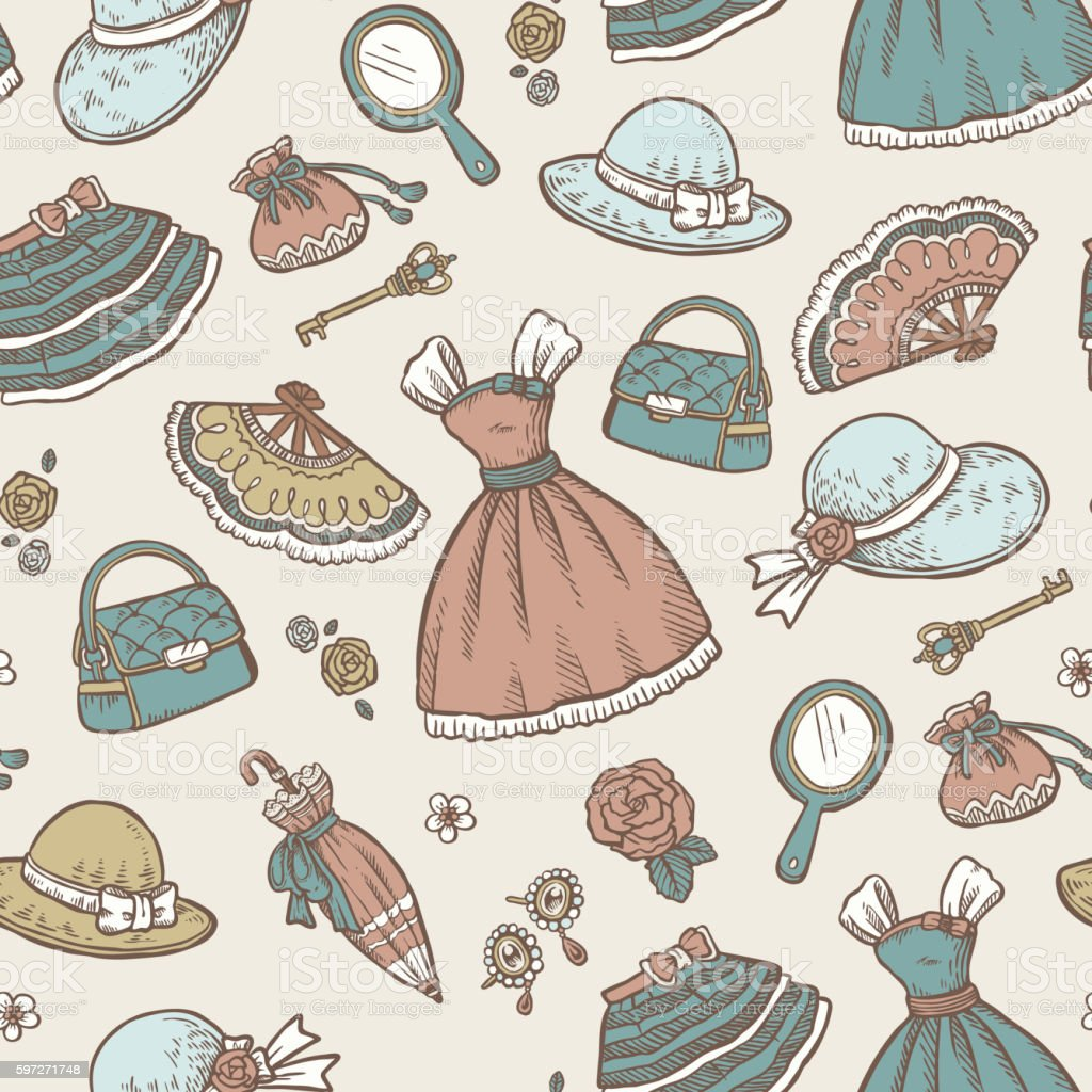 Retro accessories seamless pattern Lizenzfreies retro accessories seamless pattern stock vektor art und mehr bilder von abstrakt