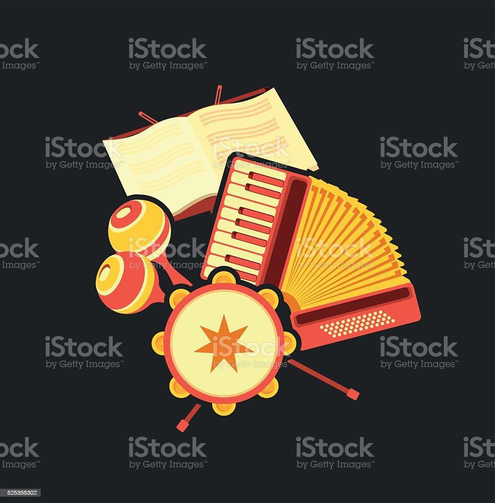 retro accordion music vector art illustration