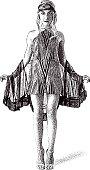 Line art  retro illustration of a 1920's Art Deco actress wearing vintage clothes.