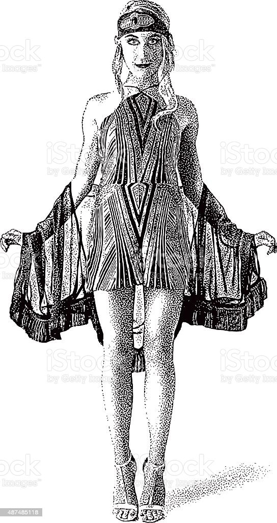 Retro Actress, Wearing Vintage Art Deco Clothes vector art illustration