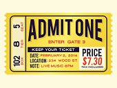Retro admission ticket with space for your text. EPS 10 file. Transparency effects used on highlight elements.