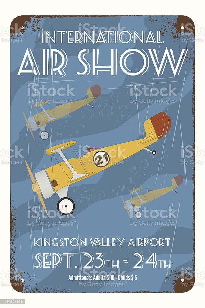 Retro air show poster with tin airplanes vector art illustration