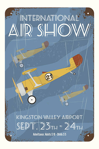 retro air show poster with tin airplanes - 1940s style stock illustrations, clip art, cartoons, & icons