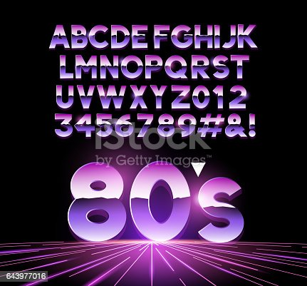 retro Airbrushed style 1980's shiny Letters with a futuristic look from the decade. Vector illustration