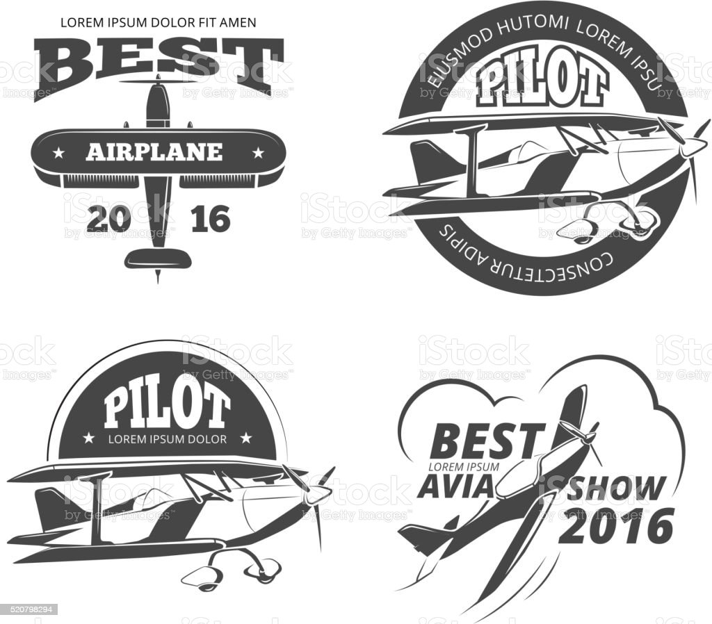 Retro airplane, aircraft vector labels set vector art illustration
