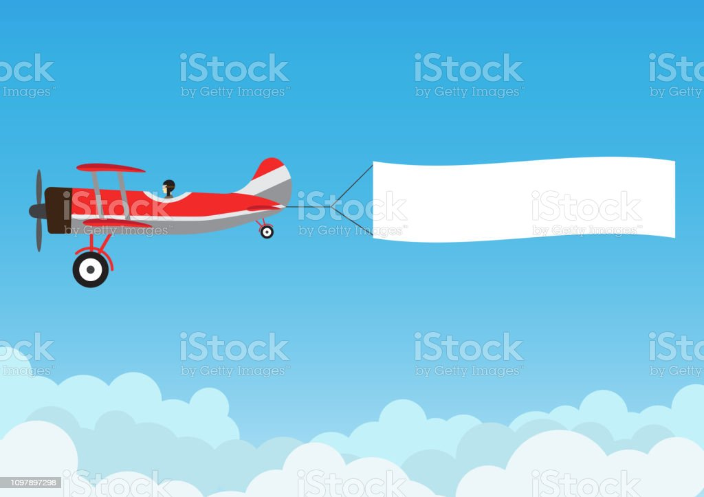 Retro airplane flying with advertising banner on blue sky - Vector illustration royalty-free retro airplane flying with advertising banner on blue sky vector illustration stock illustration - download image now