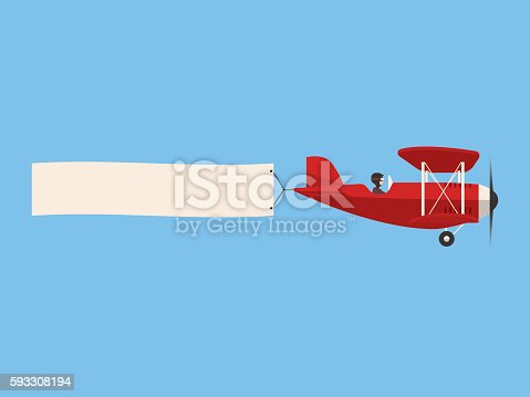 istock Retro airplane in the sky with poster, flat design 593308194