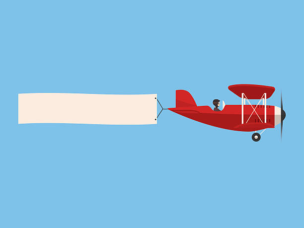 Retro airplane in the sky with poster, flat design - ilustración de arte vectorial
