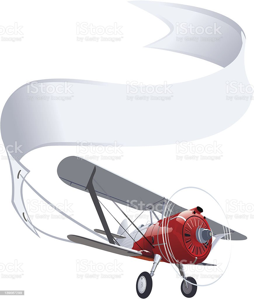 Retro airplane with banner vector art illustration