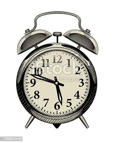 Retro alarm clock. Vintage engraving stylized drawing. Vector Illustration
