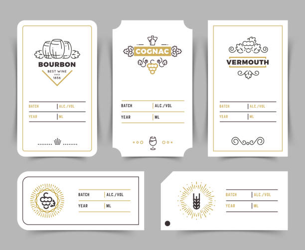 retro alcohol drink vector emblems. vintage bourbon, whiskey and brandy labels - alcohol drink borders stock illustrations