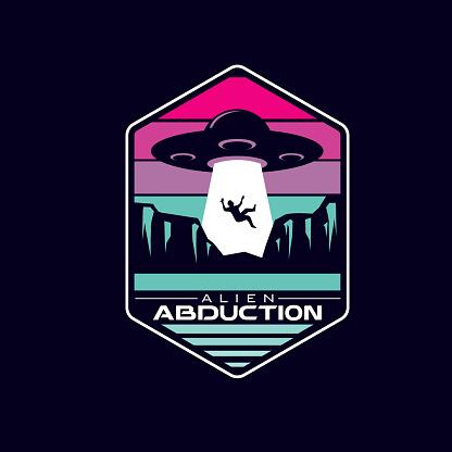 retro alien ufo abduction badge vector icon